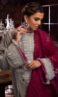 -Embroidered, sequined and hand embellished front on velvet (1.25 m) -Embroidered and sequined velvet for back (1.25 m) -Embroidered and sequined sleeves on velvet (0.75 m) -Embroidered and sequined lace for front and back hem (1.5 m) -Embroidered and sequined motifs for sleeves (2) -Jamawar trousers (2.5 m) -Embroidered shawl (2.5 m) -Kirin lace for shirt hem & sleeves (2.3 m) -Embroidered finishing for side slits (0.75 m) -Pink satin silk for finishing