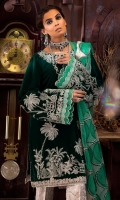 -Embroidered, sequined and hand embellished front on velvet (1.25 m) -Embroidered and sequined velvet for sleeves (0.75 m) -Hand embellished neckline -Dyed velvet for back -Embroidered and sequined lace for front and back hem (1.75 m) -Embroidered and sequined lazer cut organza dupatta (2.5 m) -Jamawar trousers (2.5 m) -Organza finishings for sleeves -Finishing lace for side slits (1 m)