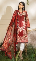 -Gradient printed embroidered front -Digital printed back and sleeves -Digital print chiffon dupatta -Dyed trousers -Embroidered patches for shirt (2) -Embroidered border for hem -3D embroidered flowers (24) -Buttons for sleeves styling (16) -Red balls for neckline (8) -Balls for hemline (11)  *Dupatta finishing was used for styling only, it is not included in the package.