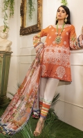 -Embroidered front -Digital printed back and sleeves -Digital print silk dupatta -Dyed trousers -Printed border for trouser -Embroidered lace for styling -Embroidered 3D assorted flowers (50) -Pearls (40)