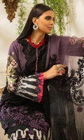 -Digital print front, back and sleeves -Embroidered organza dupatta center -Embroidered organza pallu -Embroidered floral border for shirt -Embroidered patch for shirt -Embroidered neckline -Dyed trouser -Crystals for neckline (30) -3D embroidered flowers for dupatta and shirt (80)  *Dupatta finishing was used for styling only, it is not included in the package.
