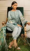 -Chikan embroidered front -Digital printed back and sleeves -Digital print pure silk dupatta -Dyed trousers -Embroidered border for hem -Embroidered neckline -Embroidered lace for finishing -Circle lace for styling -Buttons (18) -Balls for neckline (8) -3D embroidered flowers (30)  *Dupatta finishing was used for styling only, it is not included in the package.