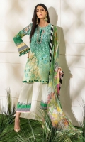 -Digital printed and embroidered front -Digital printed back and sleeves -Digital print chiffon dupatta -Dyed trousers -Printed border for trouser -Embroidered floral patches for front (2) -3D assorted embroidered flowers (22) -Balls for neckline (10)  *Dupatta finishing was used for styling only, it is not included in the package.