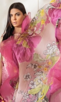 -Digital printed and embroidered front -Digital printed back and sleeves -Digital print chiffon dupatta -Dyed trousers -Printed border for trouser -Embroidered floral patches for front (2) -3D assorted embroidered flowers (18) -Pearls for finishing (40) -Embroidered scallop border for front hem  *Dupatta finishing was used for styling only, it is not included in the package.