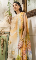 -Gradient dyed embroidered front -Digital print back and sleeves -Digital print chiffon dupatta -Dyed trousers -Printed border for trouser -Embroidered 3D assorted flowers (28) -Embroidered lace for hem and styling -Buttons (10) -Pearls for finishing (40)  *Dupatta finishing was used for styling only, it is not included in the package.