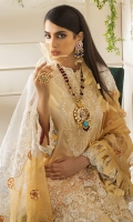 -Digital print front, back and sleeves -Embroidered organza dupatta center -Embroidered organza pallu -Embroidered floral border for shirt -Embroidered patch for shirt -Embroidered neckline -Dyed trouser -Pearls for neckline (10) -3D embroidered flowers for dupatta and shirt (80) -Embroidered lace for sleeves  *Dupatta finishing was used for styling only, it is not included in the package.
