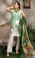 -Embroidered front -Digital printed back and sleeves -Digital print chiffon dupatta -Dyed trousers -Dyed fabric for shirt styling -Embroidered lace for sleeves -3D embroidered flowers (10) -3 D embroidered butterfly (2) -Embroidered leaves for styling -Pearls (40)  *Dupatta finishing was used for styling only, it is not included in the package.