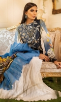 -Embroidered front -Digital printed back and sleeves -Digital print chiffon dupatta -Dyed trousers -Dyed fabric for shirt styling -Embroidered lace for sleeves -3D embroidered flowers (22) -Embroidered leaves for styling -Pearls (40)