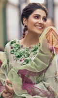 -Chikan embroidered front -Chikan embroidered back -Chikan embroidered sleeves -Embroidered border for front and back -Embroidered border for sleeves -Pearls for finishing -3D flowers -Embroidered motifs for trouser -Thread tassels for sleeves -Dyed trousers -Digital print pure chiffon dupatta