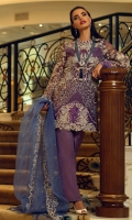 Embroidered and swarovski embellished organza front Embroidered organza back Embroidered organza sleeves Embroidered and pearl embellished organza dupatta Embroidered. sequinned and embellished border for front Embroidered and sequined border for back Cotton silk slip Dyed grip trousers Satin silk for finishing