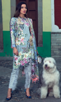Digital print fmbroidered front Digital print back and sleeves Digital print pure silk dupatta Dyed trouser 3D birds (2)