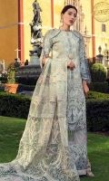 Digital print embroidered front on exclusive satin fabric Digital print back and sleeves Dyed trouser Embroidered and sequinned finishing on silk Embroidered and embellished organza dupatta