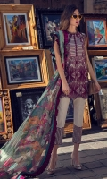 Embroidered front Digital print back and sleeves Digital print pure chiffon dupatta Dyed and embroidered trouser Buttons for embellishment (20)