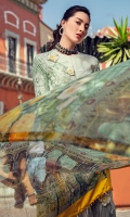 Embroidered front Digital print back and sleeves Digital print pure chiffon dupatta Dyed trouser Embroidered 3D flowers (9) Embroidered border for trouser