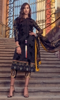 Digital print chikan embroidered front Digital print back and sleeves Digital print pure chiffon dupatta Dyed trouser Embroidered finishing for shirt Embroidered trouser border