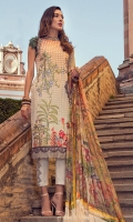 Digital print embroidered front Digital print back and sleeves Digital print pure silk dupatta Dyed trouser Zig-zag embroidered finishing patti for shirt Embroidered hem border