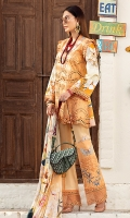-Chikan embroidered front -Digital printed back and sleeves -Digital print pure chiffon dupatta -Dyed trousers -Embroidered lace for trouser -Embroidered patches for trouser (2) -Embroidered lace for sleeves and neckline -Floral embroidered lace for neckline -Embroidered border on organza for extension -Swarovski for finishings -Buttons for shirt (peach)