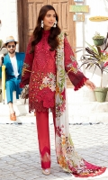 -Digital printed and embroidered front -Digital printed back and sleeves -Digital print pure chiffon dupatta -Dyed trousers -Embroidered patches for sleeves (2) -Embroidered border for hem -Embroidered border for trousers -3D embroidered flowers for shirt -Buttons for finishing (red) -Pearls for 3D flowers