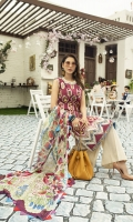 -Embroidered front -Digital printed back and sleeves -Digital print pure chiffon dupatta -Dyed trousers -Mirror worked embroidered border for hem -Embroidered lace for hem -Mirror worked embroidered lace for side slits -Embroidered lace for neckline and  sleeves  *Dupatta finishing used for styling only (not included)