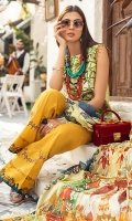-Digital print and embroidered front -Digital printed back and sleeves -Digital print pure chiffon dupatta -Dyed trousers -Embroidered lace for trouser -Embroidered lace for hem -Embroidered patch for neckline -Embroidered lace for finishing -Swarovski for finishings