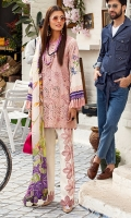 -Boring embroidered front -Digital printed back and sleeves -Digital print pure silk dupatta -Dyed trousers -Embroidered lace for trouser -Embroidered lace for sleeves -Embroidered patches for neckline -Assorted 3D flowers -Buttons for shirt and trouser (pink) -Silk drops for hemline