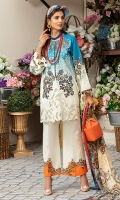 -Tie and dye printed and embroidered front -Digital printed back and sleeves -Digital print pure silk dupatta -Embroidered neckline -Lazer cut embroidered patch for hem -Embroidered lace for sleeves -Digital printed trousers -Embroidered patches for trouser -Buttons for shirt finishing ( offwhite) -Swarovskis for neckline (blue)