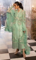 -Chikan and pearl embroidered front panels on chiffon with hand embellishments -Chikan and pani embroidered back motif -Chika and pani embroidered patches for front and back (left and right) -Chikan and pani embroidered sleeves motifs -Chikan and pani embroidered sleeves lace -Chikan embroidered lace for back panels -Pani embroidered patti for neckline -Pani embroidered net dupatta with borders -Criss cross finishing lace for shirt -Pearls for finishing -Dyed chiffon for back, sleeves and front side panels -Cotton silk undershirt -Raw silk trousers