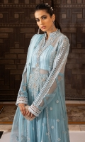 -Chikan embroidered and embellished neckline -Chikan embroidered and embellished bodice -Embroidered chiffon for front and back -Dyed chiffon for sleeves -Pani and chikan embroidered border for ghaira -Pani and chikan embroidered motifs for front and back ghaira -Pani embroidered lace for ghaira -Pani and chikan embroidered lace for sleeves -Pani embroidered patti for front and back panels and ghaira -Pani and chikan embroidered back motif -Embroidered organza dupatta -Pani and chikan embroidered motifs for dupatta -Pani embroidered dupatta border for two side -Finishing lace for sleeves -Finishing border lace for sleeves -Cotton silk undershirt -Raw silk trousers