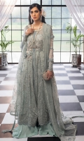 -Hand embellished neckline -Pani embroidered bodice on chiffon -Embroidered chiffon for front -Embroidered chiffon for back -Pani embroidered border for front and back ghaira and sleeves -Hand embellished 3D motif -Pani embroidered patti for panels and finishing -Embroidered back motif -Sequinned embroidered dupatta -Pearls for finishing -Dyed chiffon for sleeves -Finishing lace for sleeves -Cotton silk undershirt -Raw silk trousers