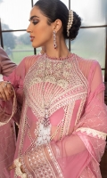 -Chikan and pani embroidered and hand embellished neckline -Chikan and pani embroidered back motif -Chikan and pani embroidered panel for front -Chikan and pani embroidered motifs for front and back ghaira -Pani embroidered border for front and back ghaira and sleeves -Pani embroidered patti for front and back panels -Dyed chiffon for front, back and sleeves -Sequinned embroidered net dupatta with borders and finishings -Finishing lace for sleeves and ghaira -Finishing lace for front and back panels -Cotton silk undershirt -Raw silk trousers