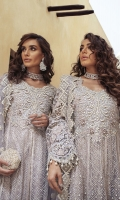 -Embroidered, sequinned and pani embellished front and back on net -Embroidered, sequinned and pani embellished sleeves on net -Embroidered and hand embellished neckline -Embroidered, sequinned and pani embellished border for front and back -Embroidered, pani and pearl embellished net dupatta -Finishing lace for panels -Embroidered 3D flowers for back -Dyed Jamawar Lehnga -Cotton silk undershirt -Pearls for finishing -Drops for finishing