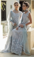 -Embroidered, sequinned and pani embellished front on net -Embroidered, sequined and pani embellished back on net -Sequinned and pearl embellished sleeves on net -Embroidered and hand embellished neckline -Embroidered, sequinned and pani embellished border for front and back -Embroidered, sequinned and pani embellished neckline for back -Embroidered and pani embellished net dupatta -Jamawar Lehnga -Cotton silk undershirt -Pearls for finishing