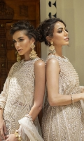 -Embroidered, sequinned and pani embellished front on net with handwork -Embroidered, sequinned and pani embellished back on net -Hand embellished neckline -Sequinned net for sleeves -Pani embroidered and sequinned border for shirt front and back -Sequinned and pani embroidered finishing lace for sleeves -Jamawar Lehnga -Pani embroidered and sequinned net dupatta -Cotton silk undershirt -Drops for shirt finishing