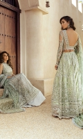-Embroidered, sequinned and pani embellished net for front and back -Embroidered, sequinned and pani embellished yoke on organza with handwork -Dyed organza for back yoke -Embroidered, sequinned and pani embellished neckline for back -Embroidered, sequinned and pani embellished sleeves on net -Pani embroidered and sequinned border front and back daman -Sequinned and pani embroidered finishing lace with pearls -Jamawar Lehnga -Cotton silk undershirt -Pani embroidered net dupatta -Kiran lace for dupatta -Drops for shirt finishing