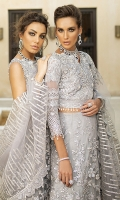 -Pani embroidered and sequinned net for front and back -Embroidered, sequinned and hand embellished net for front yoke -Dyed net for back yoke -Embroidered and sequinned daman for front and  back -Embroidered and sequinned sleeves on organza -Sequinned finishing lace -Raw silk lehenga -Cotton silk undershirt -Pani embroidered net dupatta -3D sequinned flowers -Drops for shirt finishing