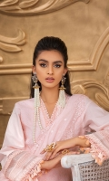 Embroidered chikan kari front Self-embroidered back and sleeves along with embroidered borders Embroidered cotton net dupatta with embroidered borders and hangings Plain dyed trouser with borders