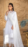 Embroidered chikan kari front with embroidered center and daman panel Embroidered chikan kari sleeves with embroidered border Plain dyed back Embroidered net dupatta with four sided embroidered patti Plain dyed Trouser with embroidered border