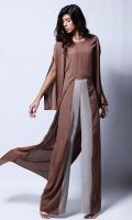 Brown loose fit u-shaped hemline tunic (One piece)