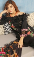 2.5 meters Embroidered Lawn shirt  0.5 Embroidered meter Printed lawn Sleeves  2.5 meters Plain trouser  2.5 meters chiffon dupatta