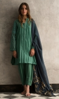 Green pleated woven shirt with mirror work on sleeves.