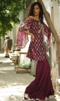 Organza top with kamdaani and zardozi work.