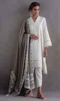 Fall linen drop kurta with pleating and delicate delicate detailing. Our beige pashmina mitla shawl is adorned with delicate leather work and can be worn in multiple ways. Comes with pants.