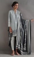 Soft texture linen with monotone hand printed geometric patterns shirt. Paired with our beautiful versatile pashmina shawl crafted with off-white pigment and cotton chic pants.