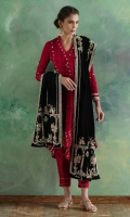 Our signature red high low wrap jacket in pure crepe silk with gota and zardoze embroidery. Comes with silk pants and paired with pure black velvet dupatta finely hand embroidered in zardoze.