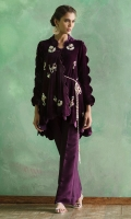 Purple lush deep purple velvet scallop jacket embroidered with rich jewel pieces in zardoze and crystals. Versatile and easy to wear. It comes with a camisole and pure silk pants.