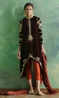 Burgundy high low pure velvet tunic with zardoze work comes with rust silk pants and paired with madder crushed textured dupatta.