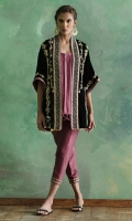 Cape jacket worked in zardoze comes with pure silk pleated camisole and silk pants.