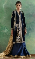 Royal blue pure velvet chogha jacket intricately worked in zardoze is paired pure gold hand woven metallic silk dupatta and comes with a light weight pure silk dhaka pajama.