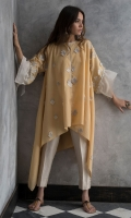 Soft cotton top with organza texture and handwork on sleeves.