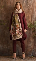 Maroon khaddar shirt with embroidered scarf.